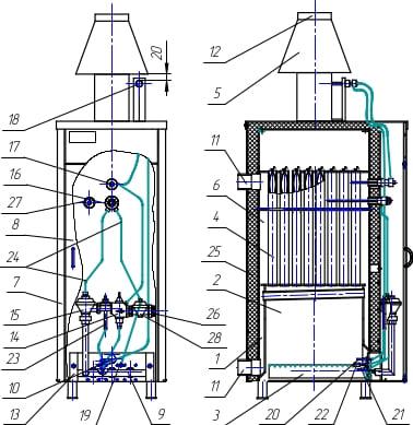 Конструкція котла Данко Рівнетерм 32-72 Каре